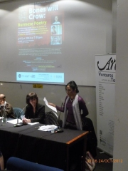 Eaindra reading at SOAS with Ruth Padel